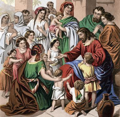 'Christ Blessing Little Children', mid 19th century. Artist: Kronheim & Co